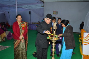 Lighting of the lamp by our Chief Guest Prof. S.N.Dwivedi