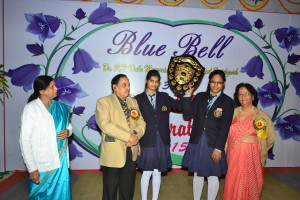 Dr P.M.Mathur giving away  the shields for Sports Events